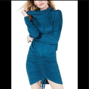 Free People Sundown Cowl Sweater Dress Teal XS